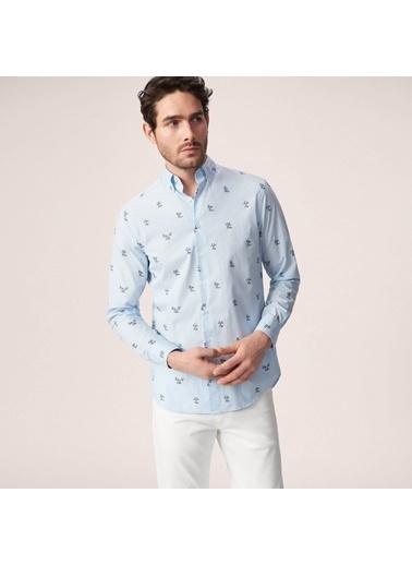 Desenli Oxford Yaka Uzun Kollu Gömlek-Gant